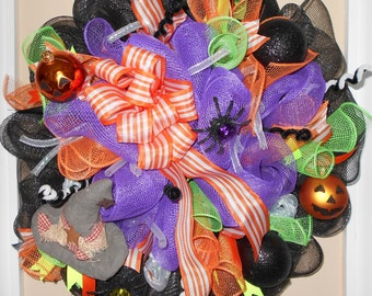 ready to ship, deco mesh halloween wreath, halloween wreath, halloween, wreath, deco mesh, black, purple, orange, green