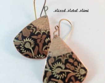 Copper Brown Gold Earrings Fan Shaped Mixed Metals Sterling Silver Earwire One Of Mixed Metal Mimi Recycled Handcrafted Upcycled Metal E-045