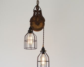 Antique Barn Pulley Pendant Light with Skeleton Cage, Modern Industrial Lighting