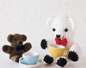Crochet Pattern PDF for Toy Gentleman Teddy Bear in Three Sizes, Amigurumi Stuffed Animal