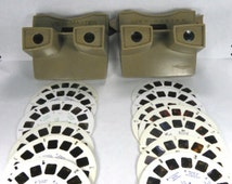 1950s Two GAF View Masters with Fifteen Reels Brown Beige VINTAGE View-Master ViewMaster