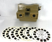 1950s GAF Beige Brown View Master with 7 Reels VINTAGE ViewMaster View-Master