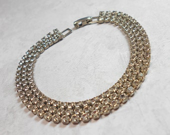 Vintage Rhinestone Bracelet 3 Strand Silver Tone Mid Century Womens Formal Bling Glitz Glam Sparkle Jewelry Prom Wedding Evening Wear