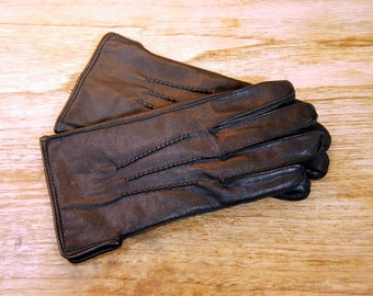 Vintage Black Leather Gloves Size 8.5 Medium