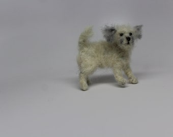Needle felted dog   small  breed white