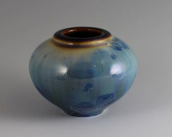 Chubby Little Turquoise Crystalline Glazed Vase
