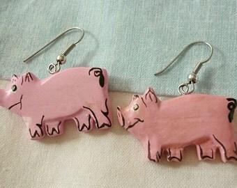 Pink Pig vintage handmade wood Earrings,Cute pink Piggy earrings