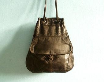 Vintage leather drawstring purse bag shoulder bag handbag messenger hobo bag / dark brown