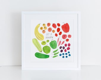 Watercolor Art Print, Kitchen Wall Art, Kid's Room Art, Eat a Rainbow, Hand Lettering, Tomato, Berry, Pepper, Zucchini, 8x8 Print, Cooking