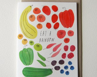 "Watercolor Notecards Blank, Eat a Rainbow, Watercolor Greeting Cards, A2, Garden Party, Birthday Card, Garden Wedding, 4.25""x5.5"", Rainbow"