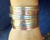 Personalized Cuffs, Positve Quote Cuffs, Mothers Day Bracelet, Hand Stamped Cuffs, Stacking Cuff Bracelets, Inspirational Cuff Bracelets