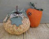 Primitive Fabric Pumpkins - Set of 2 - Ready 2 Ship - Pumpkin Cupboard Tucks - Fall Centerpiece - Shelf Sitter - Autumn Table Home  Decor