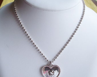 Authentic Coach Designer Sterling Silver Heart Pendant on Ball Chain