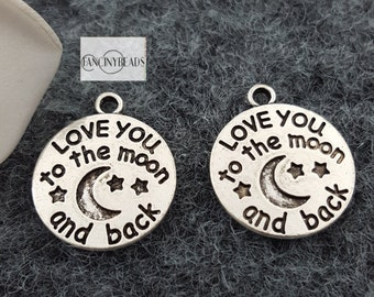 18mm-I love you to the moon and back-circle charms 40 pcs-T1051