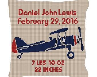 Boys Retro Airplane Birth Announcement Needlepoint Pillow Canvas
