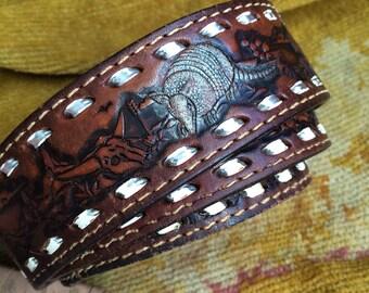 Nothing Says Texas Like A Vintage Leather Tooled Armadillo Western Belt