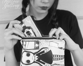 Wednesday Addams Zipper Bag set by Lupe Flores