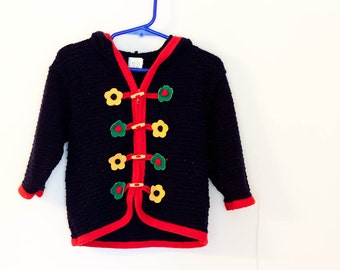 Vintage kids sweater, toddler girls hooded cardigan, navy blue with flowers