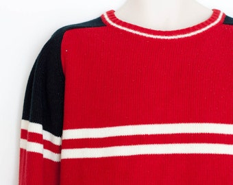 Vintage 1440 sweater, red black and white crew neck pullover striped ski sweater