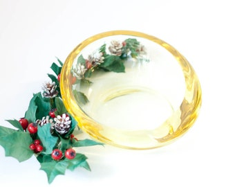 Vintage glass ashtray, large yellow Viking round angled slanted glass trinket dish