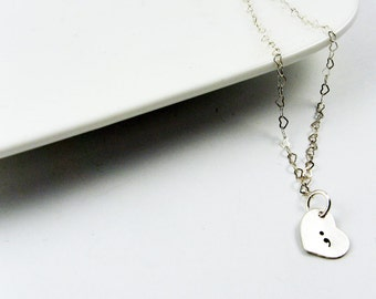 Semicolon Necklace - Sterling Silver Tiny Heart Pendant with Stamped Punctuation Symbol on Delicate Heart Chain