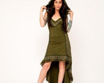 GREEN HOODED DRESS, hooded dress, green dress, pixie dress, fairy dress, psy clothing, pixie dress