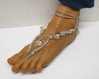 SALE Pair of Crystal clear and frosted white barefoot sandals made with hemp.  Beach and bridal fashion. HFT-A212