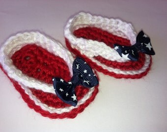 Patriotic 4th of July Baby Crocheted Sandals Flip Flops Shoes Size 0-3 / 3-6 Months Red, White & Blue