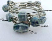 On Sale Wire Wrapped Bracelet with Handmade Ceramic Beads from my Charleston, SC Studio