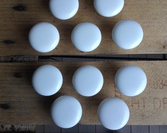 Vintage Round Porcelain Knobs Off White Pulls 11 Available - #5726