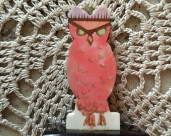 1920's Celluloid Pink Owl Place Card Holder - Made in Austria