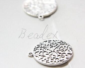 8pcs / Flower / Oxidized Silver / Base Metal / Charm / Round (Z19351//K303)