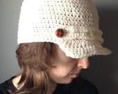 Newsboy Hat Men Women Crochet Handmade Button
