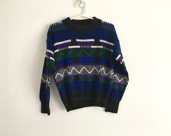 1980s Boys geometric abstract hipster sweater