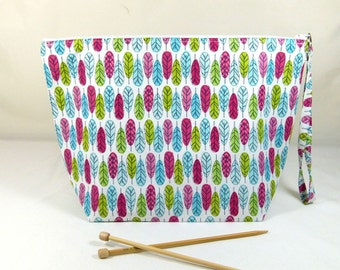 Knitting Project Bag - Large Zipper Wedge Bag in Colorful Feather Fabric with Aqua and White Polka Dot Cotton Fabric