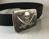 """The Flag of """"Calico Jack"""" Rackham Belt Buckle - Etched Stainless Steel - Handmade"""