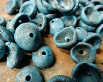 8 Stoneware pottery  bead pods, bead caps. rustic primitive earthy organic…cobalt blue, raw umber, …..copper patina #1982.