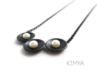 Pearl Necklace - Oxidized Silver Freshwater Pearl Necklace - Three Pearl Necklace - Pearl Trio Jewelry - Silver Pearl Bar Necklace - Kimya