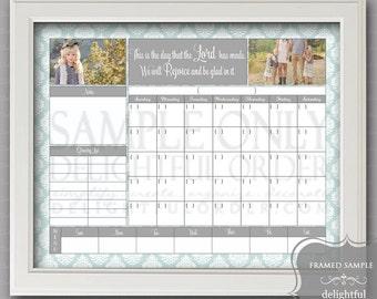 Digital Dry Erase Calendar  - 16x20 Blue Damask Calendar Message Center (JPEG Digital File) - Instant Download - You Print - You Frame