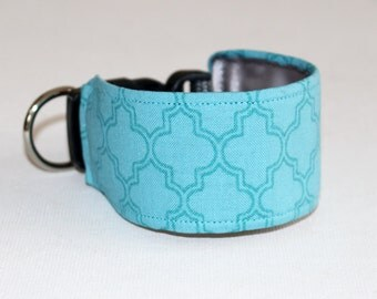 Italian Greyhound Dog Collar Moroccan Tile - Aqua Blue with Silver Grey Satin lining - see 'item details' for information