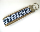 Aztec Tribal KEY FOB Wristlet- Wrist Keychain- Navy Key Lanyard for Women- Wristlet Key Chain- Christmas Gift for Her- Womens Gift Under 10