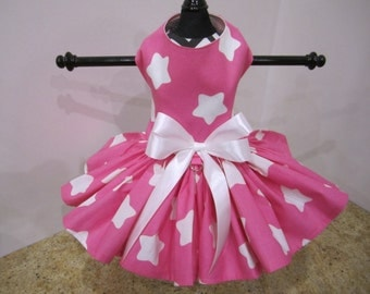 Dog Dress XS Hot Pink with White Stars Nina's Couture Closet