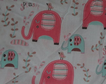 Blue and Pink Elephant Crib/Toddler bed Fitted Sheet