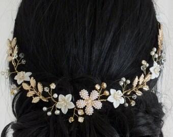 Farah - Vintage Style Mother Pearl Flower, Freshwater Pearl, Rhinestone and Gold Leaves Bridal Hair Vine