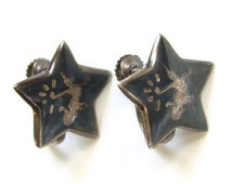 Siam Sterling Star Shape Screw Back Earrings Black Niello Enamel Mekkala Dancer Lightning Goddess Silver Jewelry