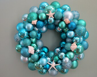 SUMMER BEACH Wreath -AQUA Seafoam  Shatterproof Ornament Wreath with Starfish Shells