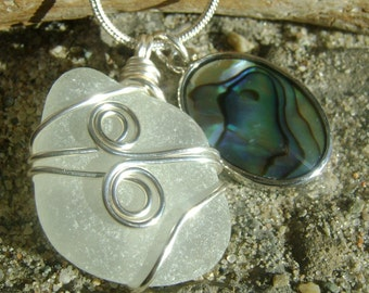 Handmade Seaglass Jewelry: Seaglass Necklace with Abalone