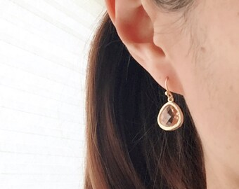 Champagne Earrings. Peach Earrings. Gold Dangle Earrings. Blush Earrings. Blush Pink Earrings.Wedding Jewelry.Bridesmaid Earrings.Bridesmaid