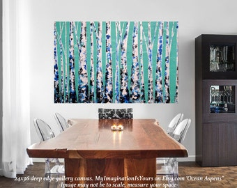 "READY TO SHIP: 24x36 ""By The Shore Aspens"" Aspen/Birch Tree Painting Teal Textured Original Art by MyImaginationIsYours"