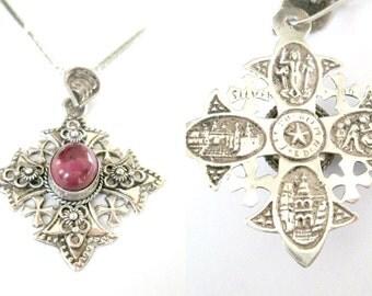 Gothic Maltese Silver Cross Purple Stone // Vintage Antique Jerusalem Pendant Necklace